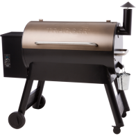 PRO SERIES 34 PELLET GRILL (GEN 1) - BRONZE - Our best selling 2018 Pro Series is now available at a lower price and features our classic sawhorse chassis for linebacker-like stability. The brawny side-lift bar gives even weight distribution and the solid all-terrain wheels ease while rolling your grill over pavers, rocks, and dirt. The digital Pro Controller rocks Advanced Grilling Logic, which maintains a +/- 15 degree F temperature control* to guarantee precision grilling. Create the original Traeger taste while taking your grilling skills Pro.